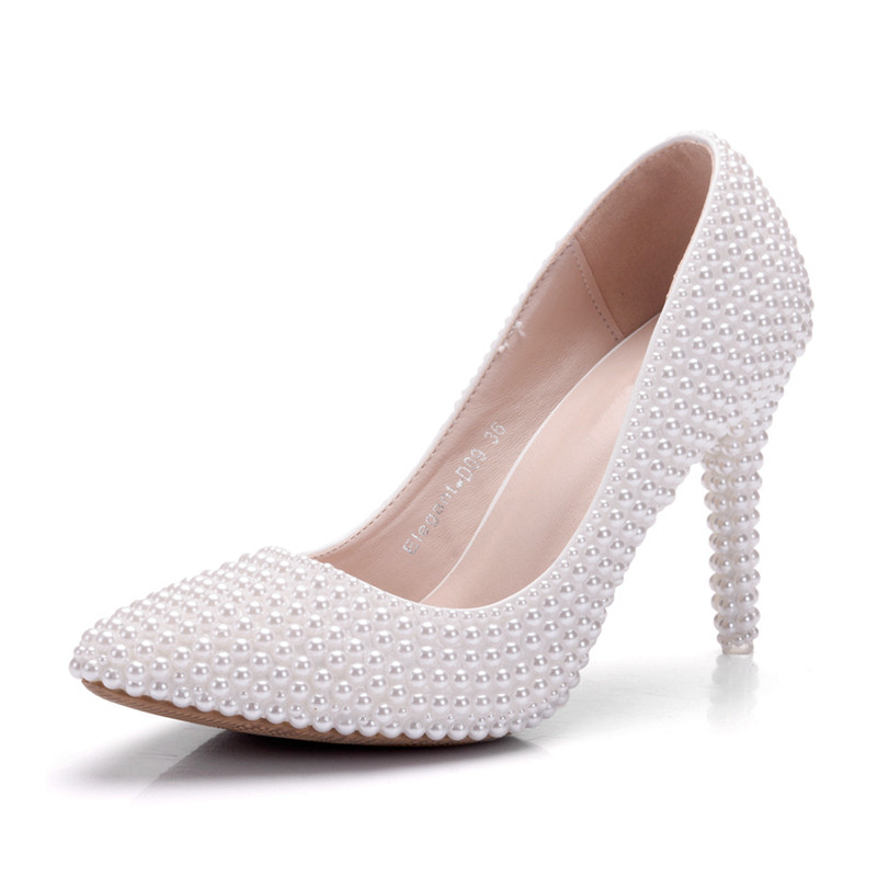 64c022084a US $42.35 30% OFF Crystal Wedding Shoes Pearl Handmade Bridal Shoes Women's  Pumps Rhinestone Female High Heels Shoes Big Size XY A0031-in Women's ...