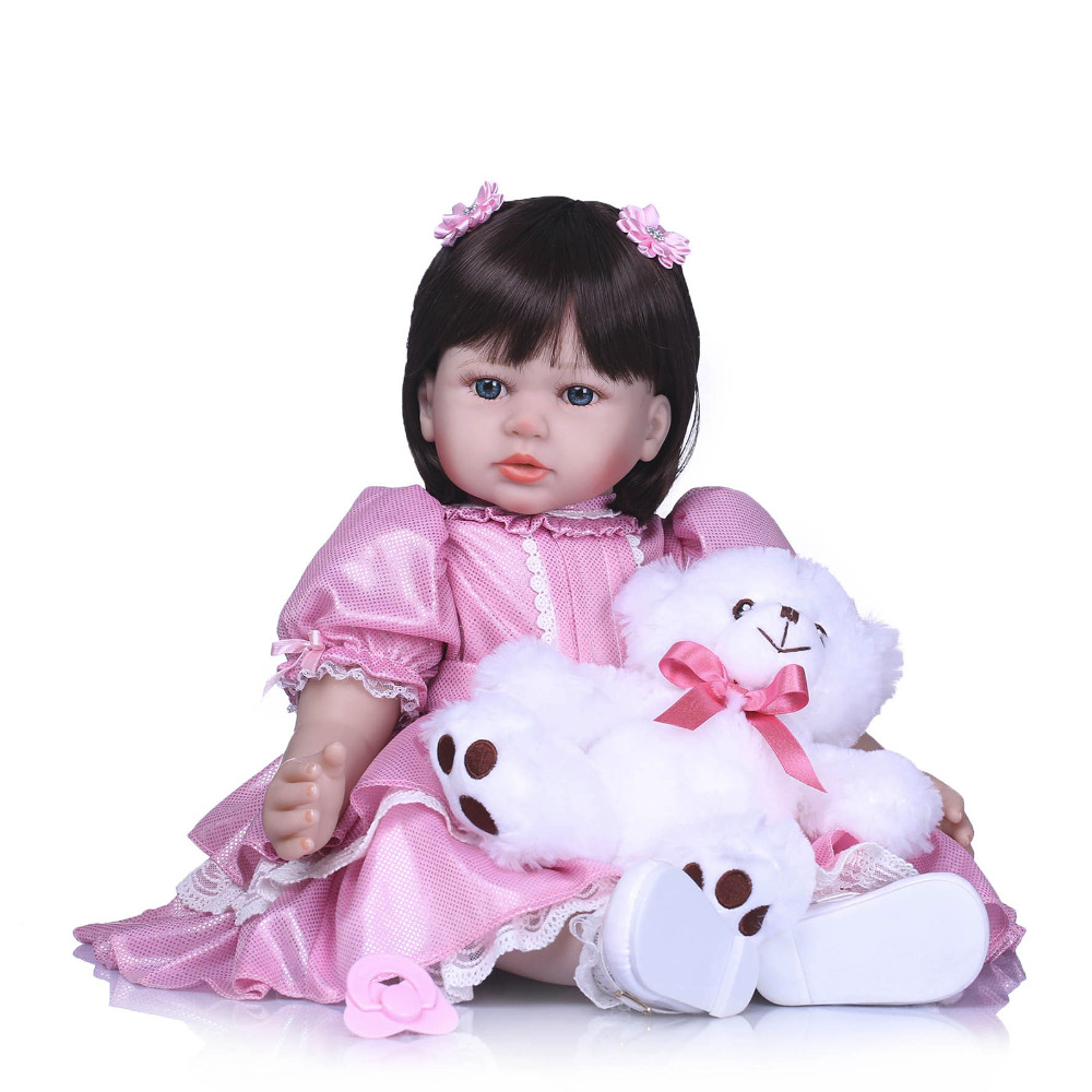 Nicery 23-24inch 58-60cm Bebe Reborn Doll Soft Silicone Boy Girl Toy Reborn Baby Doll Gift for Child Pink Dress White Bear Doll nicery 18inch 45cm reborn baby doll magnetic mouth soft silicone lifelike girl toy gift for children christmas pink hat close