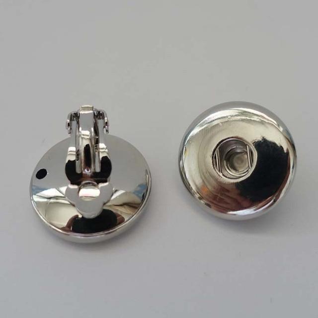 18mm (12pairs/dozen) Wholesale 2016 Metal Clip Earrings Fashion Pair Fit 18mm Snap Buttons DIY Beauty boucle d'oreille