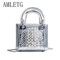 HandbagPU Leather Pearl Bag Ladies Bag 2018 New Fashion Chain Shoulder Messenger Bag Luxury Brand Designer HandbagLV