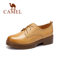 Camel New Women Leather Shoes Non Slip Shoes Retro Minimalist Casual Shoes Lace Up Britain Style