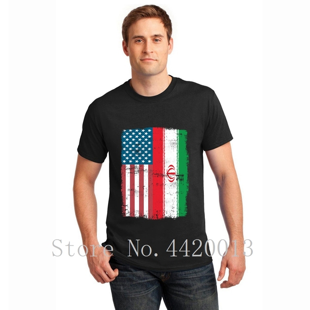 4d4a36797 Customize 100% cotton S-XXXL iranian american flag usa iran Outfit Graphic  Basic summer Vintage HipHop Top men s tshirt
