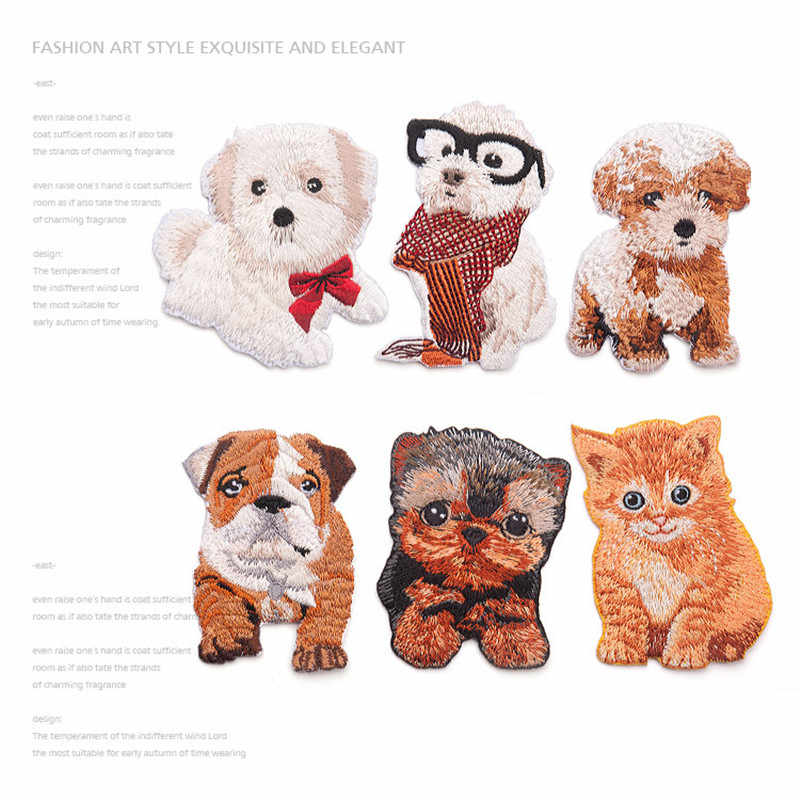 Iron On Embroidery Patches Cat Motif Applique Patch DIY Clothing Glasses Dog Cat Patch New