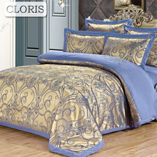 CLORIS Family Bedding Kit Moscow Supply Duvet Cover Jacquard Bed Linen Plaid Bedspread Bedclothes Best Cotton Satin Bedding Set