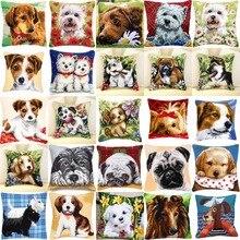 مجموعة الكلب 01 لتقوم بها بنفسك الإبرة عدة الاكريليك الغزل والتطريز وسادة نسيج قماش وسادة الجبهة عبر غرزة المخدة