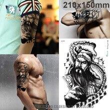 21X15cm Large Tattoo Sticker Chinese Sketch Black Guan Yu Dragon Designs Waterproof Temporary Tattoo Stickers Sleeves