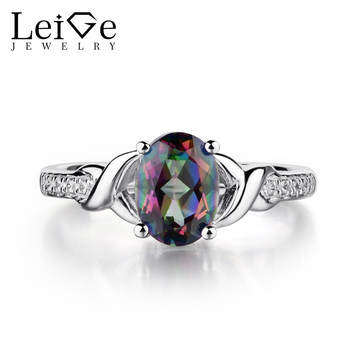 Leige Jewelry Oval Shaped Mystic Topaz Ring Sterling Silver 925 Fine Jewelry Rainbow Topaz Wedding Engagement Rings for Women