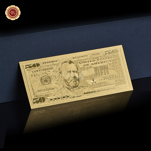 24k Gold Plated Usa 50 Dollar Bill Currency Foil Banknote Home Decoration Gift