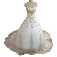 Real Photo Saudi-arabien Sexy V-ausschnitt Brautkleider Kleid flügelärmeln Sparkle Kristall Ballkleid Brautkleider Plus size Robe de mariage