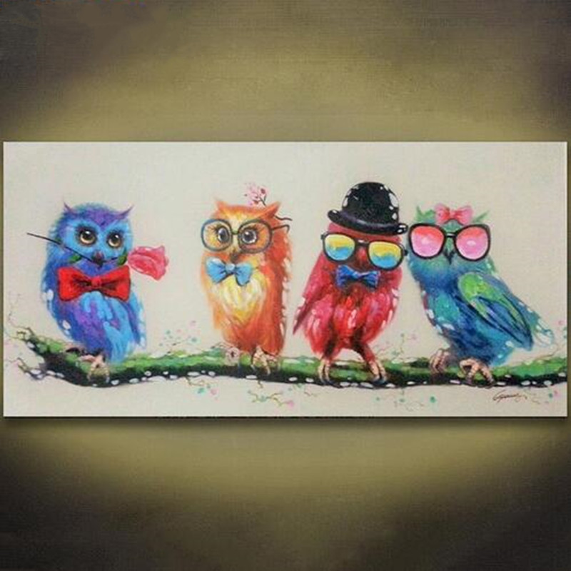 Colorful Owl Art Oil Painting Animal Hand Painted Acrylic ...
