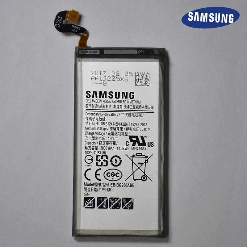 D'origine de Remplacement Rechargeable bateria S8 Batterie S8 EB-BG950ABE Pour Samsung GALAXY S8 G9550 G9508 SM-G950 3000 mah