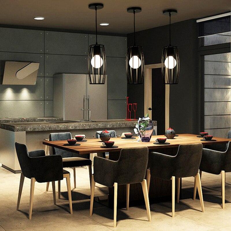 industrial vintage metal cage lampshade chandelier hanging. Black Bedroom Furniture Sets. Home Design Ideas