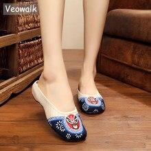 Veowalk Beijing Masker Geborduurd Vrouwen Canvas Slippers Zomer Dames Handgemaakte Katoenen Stof Borduren Slide Schoenen Zapatos Mujer