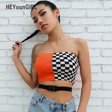 HEYounGIRL Patchwork Checkerboard Strapless Top Casual Checkered Crop Tops Women Streetwear Bandeau Boob Tube Top Wrap Checst(China)