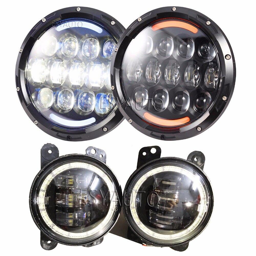 2 pièces 7''105W Blanc DRL LED Phares avec Rouge Mauvais Œil Clignotant Jaune Ange Yeux & 2 pièces 4''Fog Lumières Pour Jeep Wrangler JK