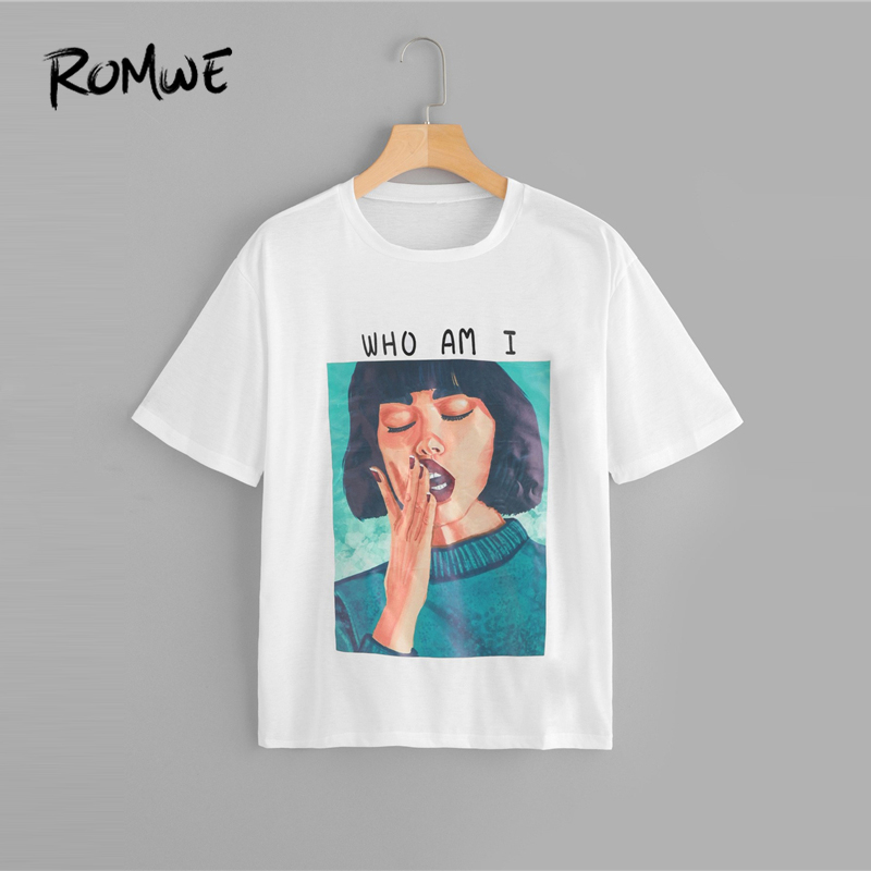 3576533a0a ROMWE Figure Print Round Neck Tee 2019 New Design Summer Female Casual Top Letter  Print Short