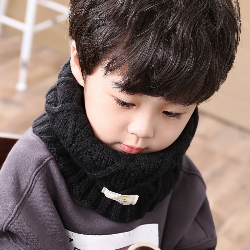 New Arrival Spring Autumn Wool Baby Scarf Children Girls Boys Kintted Wool O-Scarves Chidren Outing Protect Kint Solid Colors