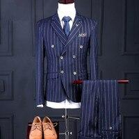 2018 Нарядные Костюмы для свадьбы для Для мужчин Жених Высокое качество Бизнес Повседневное полосатый Дизайн Темно синие пиджак жилет брюки