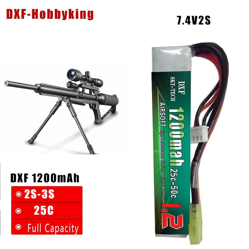 2017 DXF Yeni Gəlmiş AirSoft Silah Batareyası 7.4V 1200mAh 25C Max 50C 2S AKKU Mini Airsoft Gun Batareya RC model Tamiya Plug