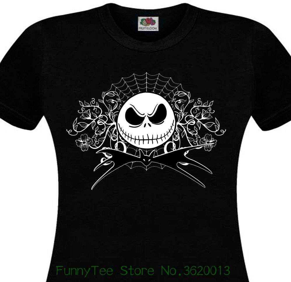 Womens Tee T-shirt Femme Mr Jack Tim Burton Nightmare Before Christmas Strange Tete De Mort Lady New Summer ...
