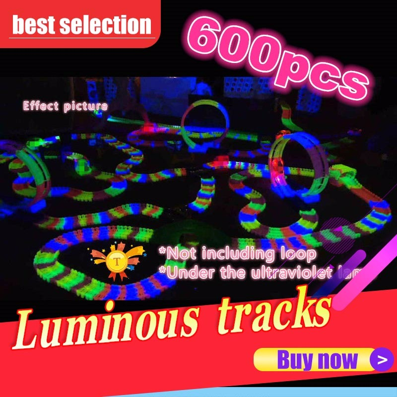 Magic 600 pièces avec des pistes de voiture Led miraculeux brillant piste de course plier Flex voitures jouets pour enfants brinquedos speelgoed