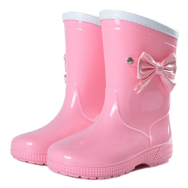 Antidérapant belles chaussures de pluie pour enfants dessin animé bottes cristal eau surchaussures arc de fille mode imperméable garçons et filles bébé mignon