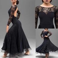 green waltz dress rumba standard smooth dance dresses Standard social dress Ballroom dance competition dress Lace black