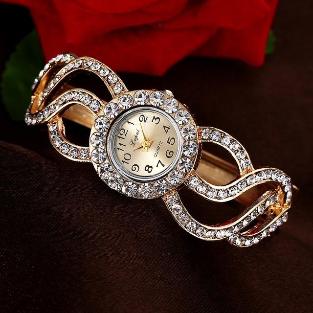 Lvpai Brand Gold White Fashion Bracelet Watch Women Multicolor Fashion Flower Qu