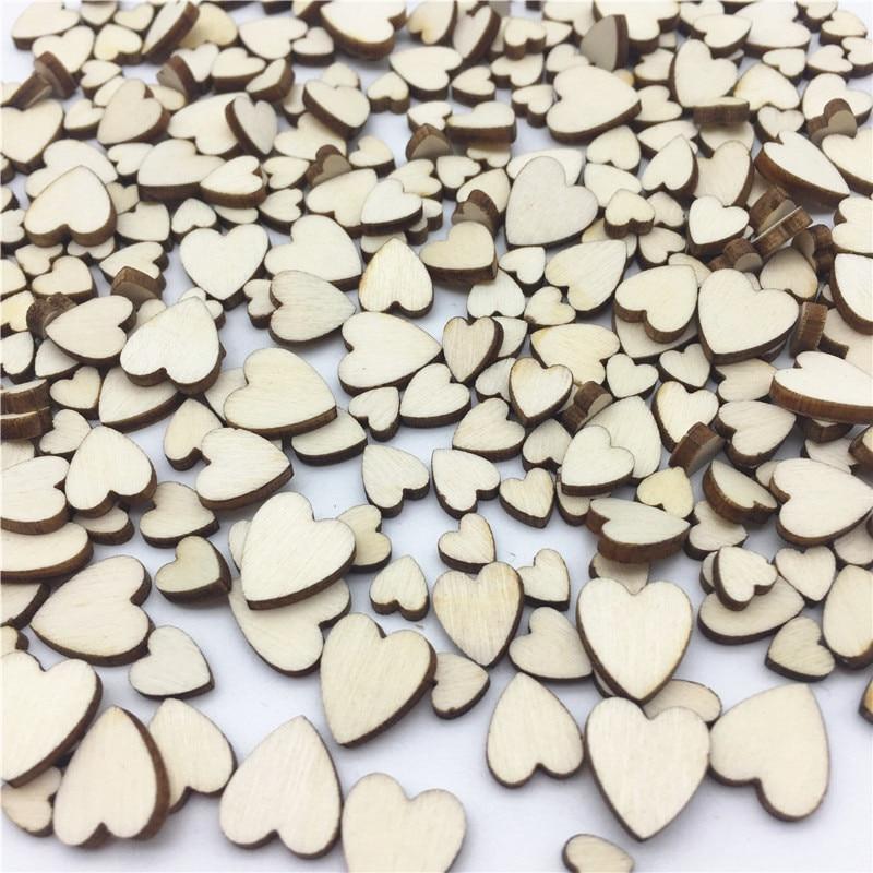 Shabby Chic Wedding Table Decorations: 100pcs 6mm 12mm Mini Tiny Wooden Heart Shapes Confetti