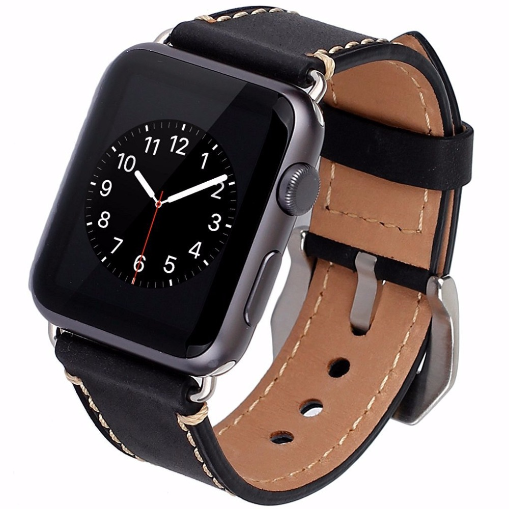 Cowhide Genuine Leather Strap Watch Band For Apple Watch iWatch Series 1/Series 2 38mm 42mm Wristband Replacement with Adapter kakapi crocodile skin genuine leather watchband with connector for apple watch 38mm series 2 series 1 pink
