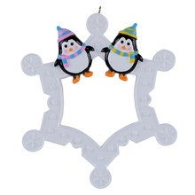 2015 Snowflake Penguins Family of 2 Personalized Ornament