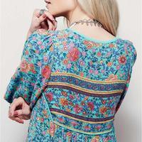 Plus Size 2017 Summer Women Floral Print Dress Ladies Long Sleeve Boho Beach Maxi Dresses Womens