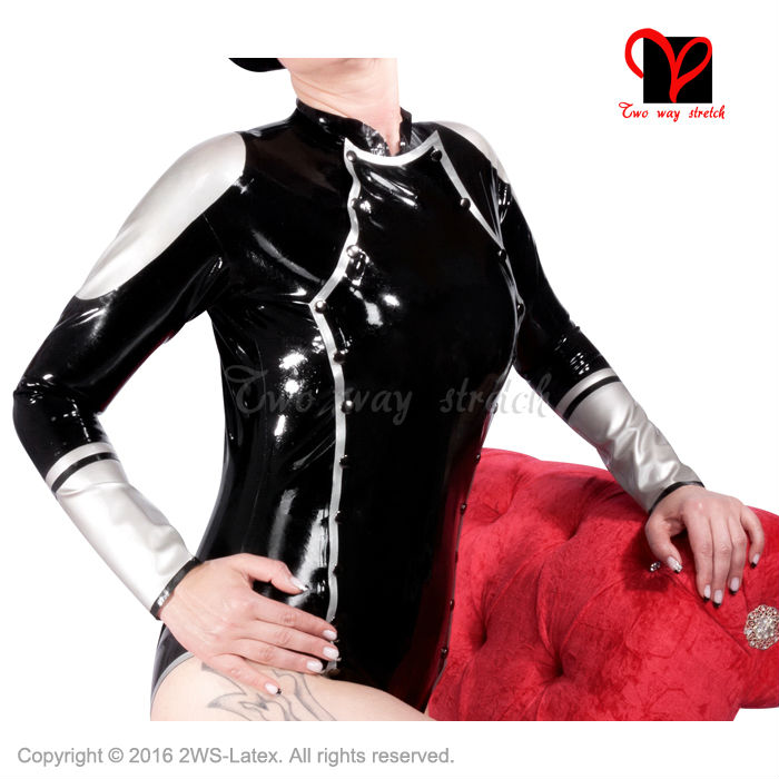 Active Sexy Latex Leotard Rubber Body Suit Long Sleeves Pull On Separable Cover Press Button Wrap Jumpsuit Plus Size Tc-002 Xxl Luggage & Bags