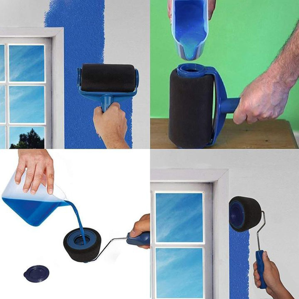 6pcs/set Wall Paint Roller Multifunctional Household Use Painting Brushes Kit Sets Wall Decorative Paint Roller Brush Tool