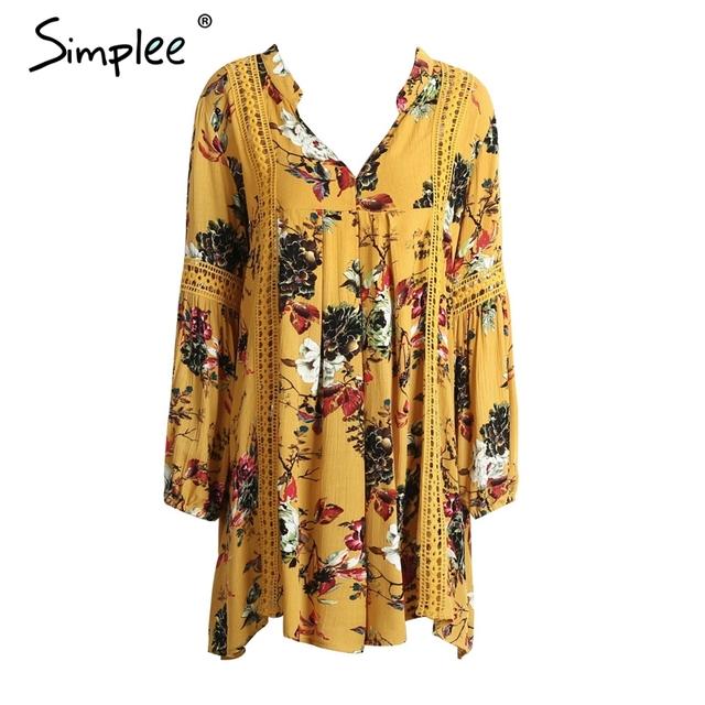 Simplee Boho print lace hollow out summer dress Women lantern sleeve loose short dress Vintage flower white dress vestidos