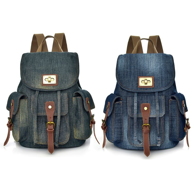 NoEnName_Null High Quality Retro Denim Backpacks Female Backpack Canvas Bag Casual Travel Multi-pocket Rucksack  NoEnName_Null High Quality Retro Denim Backpacks Female Backpack Canvas Bag Casual Travel Multi-pocket Rucksack