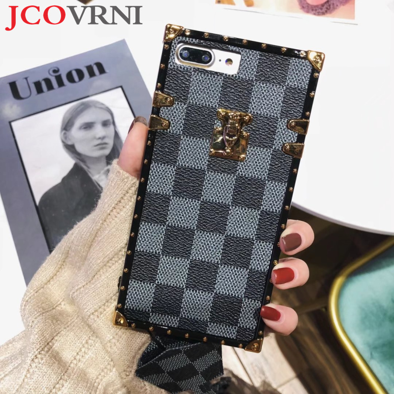 JCOVRNI Classic Plaid pattern TPU material for iphone7 7plus Fashion lanyard Fitted shell for iphone8 8plus Mobile phone cover
