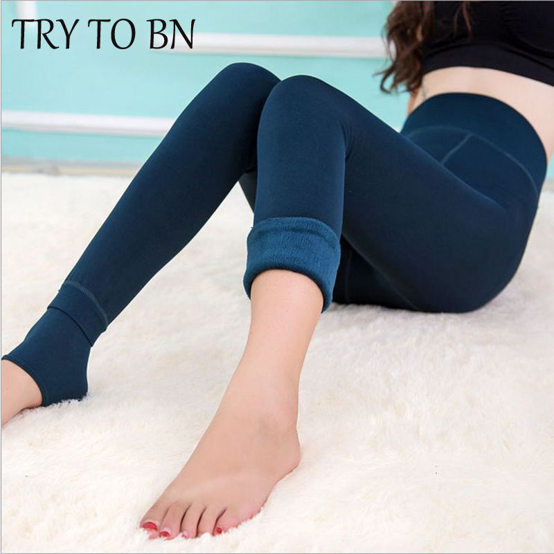 TRY TO BN  New Winter  Leggings For Women 8 Colors Solid  High Waist High Elasticity Velvet  Fashion Leggins Warm Slim  Leggings