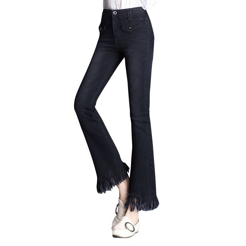 Flare Jeans Womens High Waist Boot Cut Jeans Fashion Denim Pants Elastic Trouser Black B ...