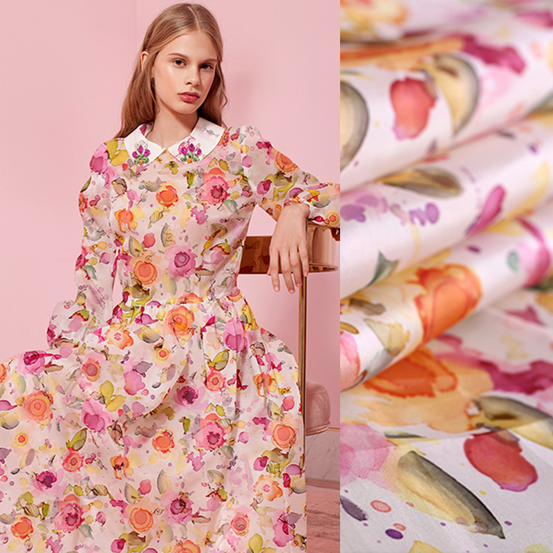 150CM Wide 12MM Colorful Floral Print Stiff Silk Organza Fabric for Summer one-piece dress Shirt Clothes DE722