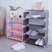 цена Non Woven Fabric Furniture Shoes Rack Double Shoe Racks Storage luggage storage rack shelf rackoe bench shelf For home decor онлайн в 2017 году