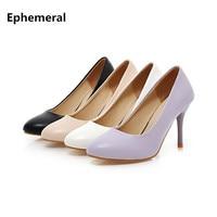 Ladies plain giày sapato feminino cho văn phòng ăn mặc bơm super high gót stiletto mujer đen trắng tím cộng với kích thước 43 42 33