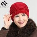Chapéu novo de Moda Para Mulheres de Meia Idade Tampas Mulheres Chapéu Do Inverno Quente Feminino Sólido Macio Espessamento Além de Cashmere Chapéu Marca