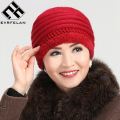 New Fashion Hat For Women Winter Hat Warm Female Soft Solid Middle-Aged Women Caps Thickening Plus Cashmere Brand Hat