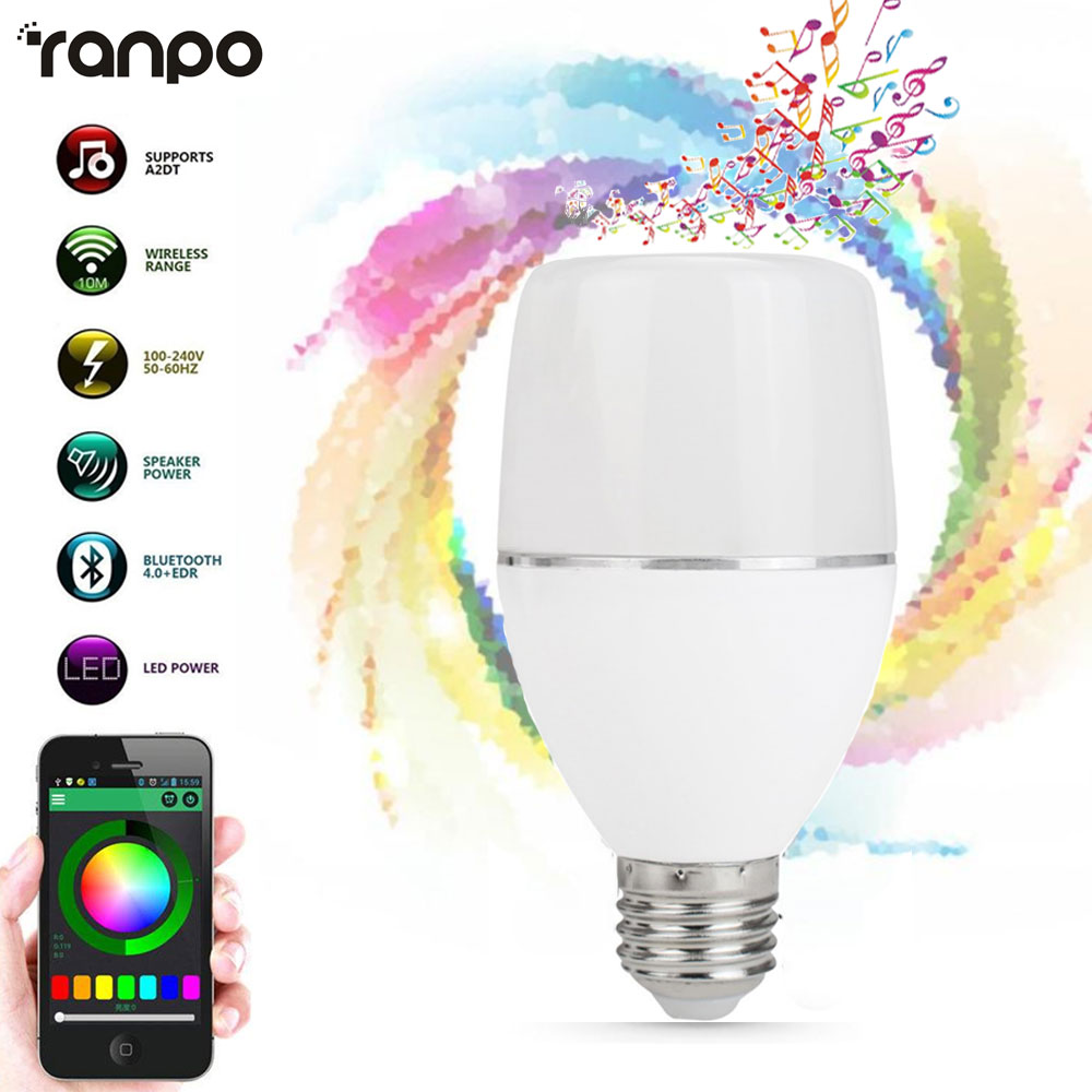 Speaker Bluetooth Bulbs E27 LED RGB Light Music Bulb Lamp Color Changing Via WiFi App Control MP3 Player Wreless 110V 220V smart bulb e27 led rgb light wireless music led lamp bluetooth color changing bulb app control android ios smartphone