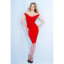 2015 Sexy Red Cocktail Dresses Scoop Sheath Short Party Dresses Fashionable Summer Style Dresses