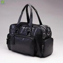Mode PU Reißverschluss Männer oder Frauen Reisetasche Vielseitig Solide Wasserdicht Schwarz Kühlen Schultertasche Handtasche Multifunktions Duffle