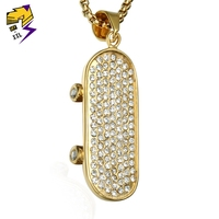 Hip Hop Stainless Steel 3D Skateboard Pendant Rhinestone Gold Tone Iced Out Street Skate Necklaces Mens