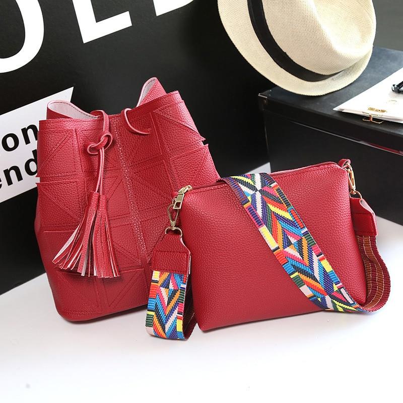 a94b556e4fdc Luxury Brand Designer Bucket bag Women Leather Wide Strap Shoulder Bag  Handbag Large Capacity Crossbody Bag Tassel Composite Bag-in Shoulder Bags  from ...