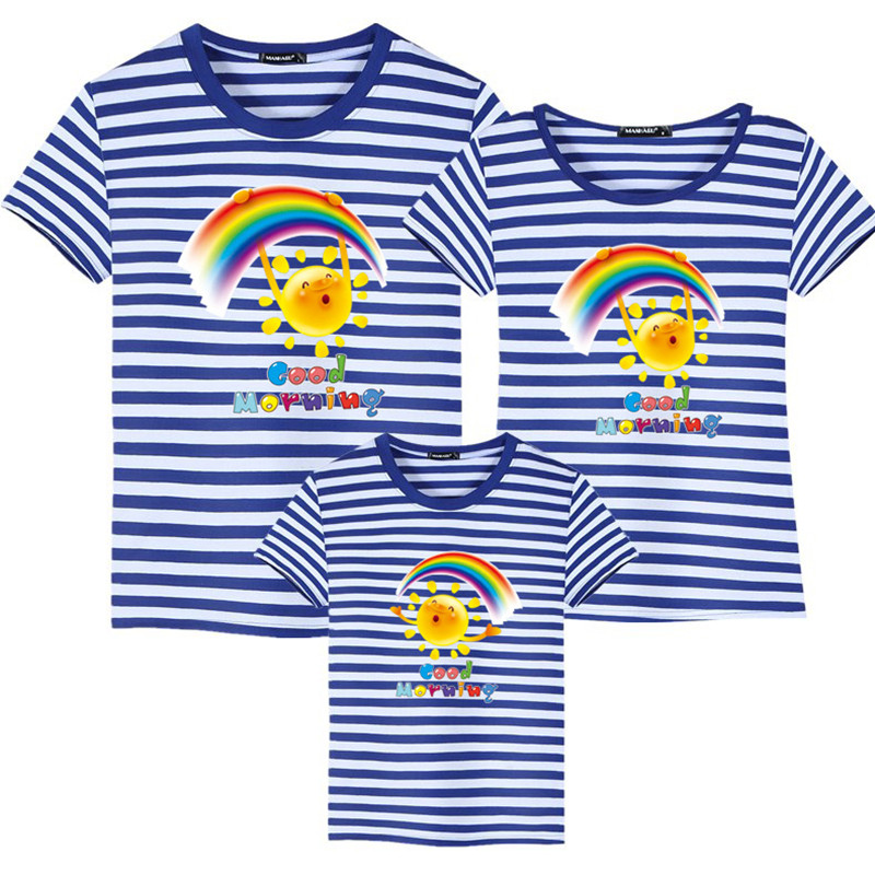 Summer Family Matching Outfits T shirt Mom Dad Son Daughter Rainbow T Shirts Family Mother Father Kids Matching outfits Tees (1)
